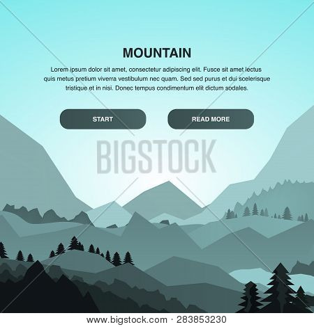 Hiking Landing Page Vector Idea. Ski Resort Website Template. Mountain Theme Web Page Layout With Bu
