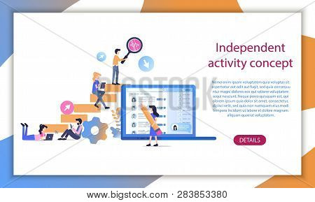 Independent Career Success Build Conceptual Ladder. Business Worker Professional Skill Growth Idea.