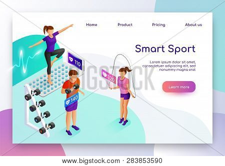 Smart Sport Isometric Vector Web Banner. People Measuring Heart Pulse With Digital Device While Doin