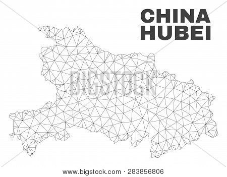Abstract Hubei Province Map Isolated On A White Background. Triangular Mesh Model In Black Color Of