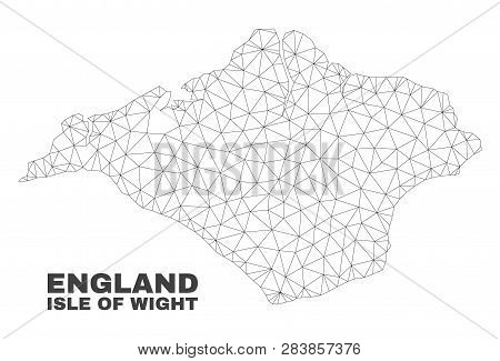 Abstract Isle Of Wight Map Isolated On A White Background. Triangular Mesh Model In Black Color Of I