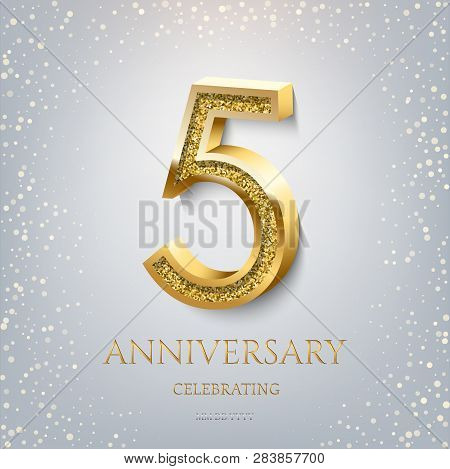 5th Anniversary Celebrating Golden Text And Confetti On Light Blue Background. Vector Celebration 5