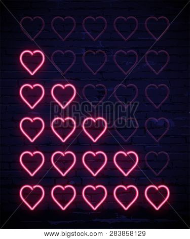 Set Of Pink Neon Hearts Rating Design Elements Isolated On Dark Brick Wall. Vector Kit Of Neon Heart