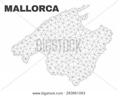Abstract Mallorca Map Isolated On A White Background. Triangular Mesh Model In Black Color Of Mallor