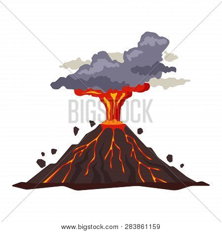 Volcano Eruption With Magma, Smoke, Ashes Isolated On White Background. Volcanic Activity Hot Lava E