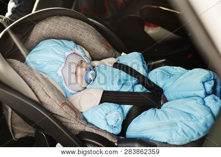 Transportation Of Newborn Baby In Car In Winter Time