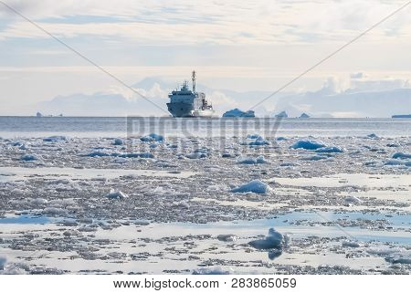 White Research Ship In The Ice Of Antarctica. White Research Ship In The Ice Of Antarctica.