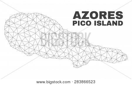 Abstract Pico Island Map Isolated On A White Background. Triangular Mesh Model In Black Color Of Pic