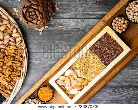 Legumes Bean Seed Nuts, Food Sources Of Fiber, Concept Image For Healthy Or Vegetarian Cooking