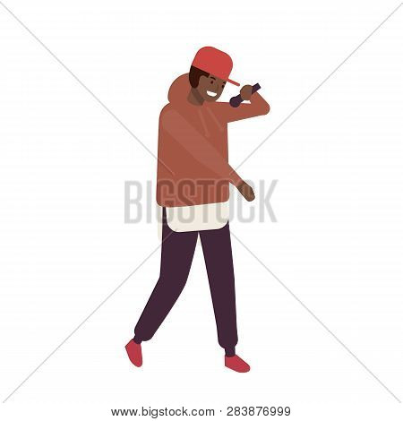 African American Rnb Vocalist Wearing Cap Performing On Stage. Rapper Or Hip-hop Mc With Microphone.