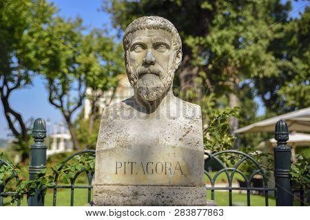 Sculptural Representation Of Pythagoras Greek Philosopher And Mathematician (580-495 Bc)