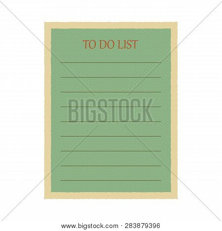 Amazing Vintage Green Todo List In Small Pluses On White Background. Vector Illustration