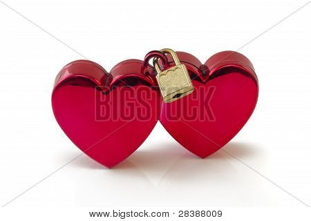Wed-locked, Two Hearts Locked, Isolated On White