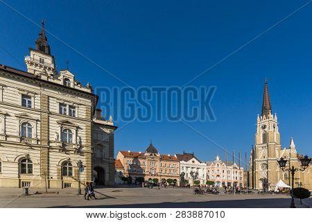 Novi Sad, Vojvodina, Serbia - November 11, 2018: Catholic Cathedral The Name Of Mary Church In The C