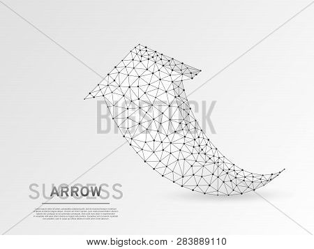 Arrow Growth, Success, Team Work Sign. Three Arrow Goes Up Wireframe Digital 3d Illustration. Low Po