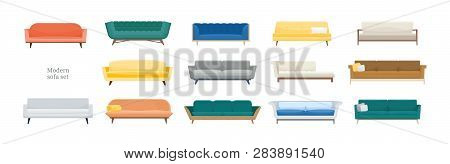 Collection Of Comfy Modern Sofas Isolated On White Background. Bundle Of Stylish Comfortable Couches