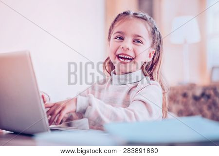 Long-haired Girl Joking During Watching Excellent Movie