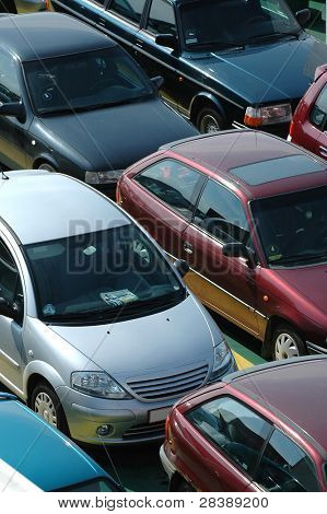 Many cars in lines