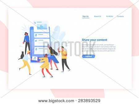 Web Banner Template With People And Giant Smartphone With Posts On Screen. Sharing Content On Social