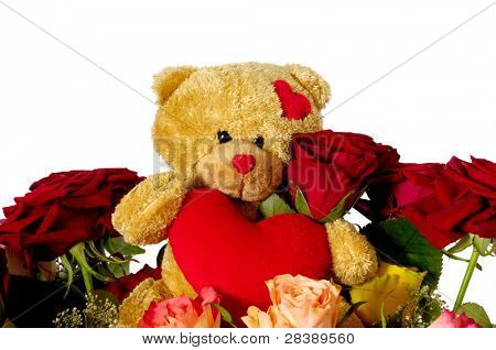 Bouquet of rose flowers isolated on white background. A teddy bear is sitting ontop of the flowers.