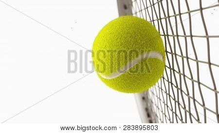 Tennis racket hits tennis ball. Closeup isolated on white background - 3d rendering