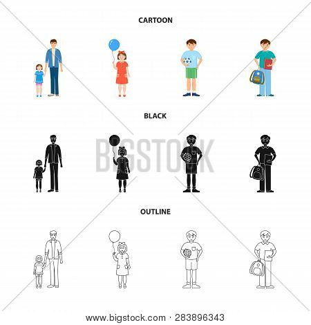 Vector Illustration Of Character And Avatar  Sign. Collection Of Character And Portrait Stock Symbol