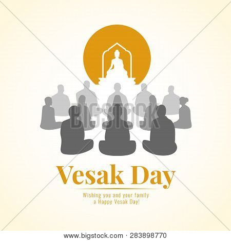 Vesak Day Banner With Group Of Buddhists Are Meditation And Buddh Statue Sign Vector Design