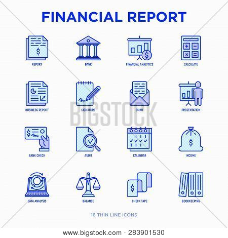 Financial Report Thin Line Icons Set: Bank, Financial Analytics, Calculate, Signature, Email, Presen
