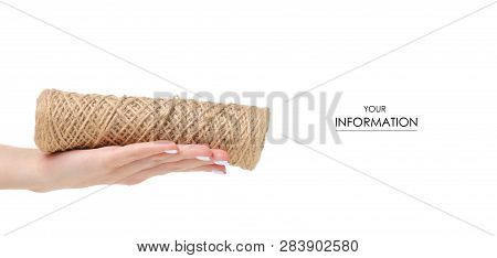 Hank rope in a hand pattern on a white background isolation poster