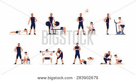 Personal Couch Or Fitness Trainer Helps Man During Strength, Power Or Cardio Training, Weight Liftin