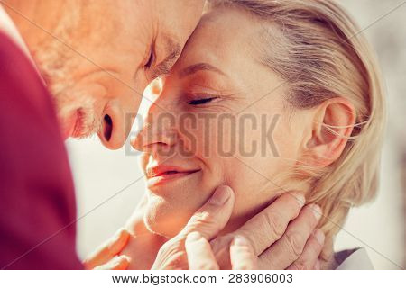 Close Up Of Cute Woman That Embracing Her Husband