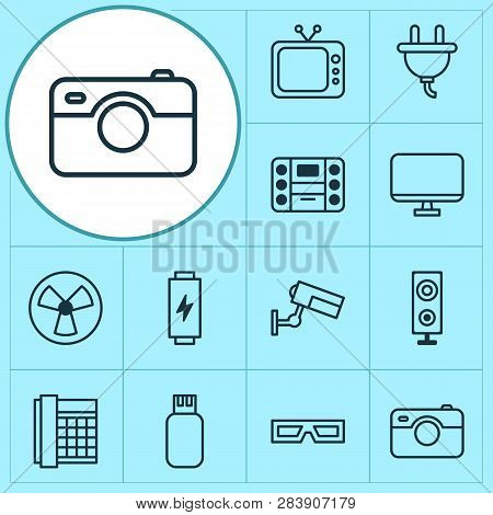 Gadget Icons Set With Flash Drive, Room Fan, Loudspeaker And Other Photo Apparatus Elements. Isolate