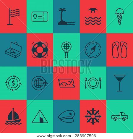 Tourism Icons Set With Search Luggage, Ice Cream, Thongs And Other Suitcase Checking  Elements. Isol