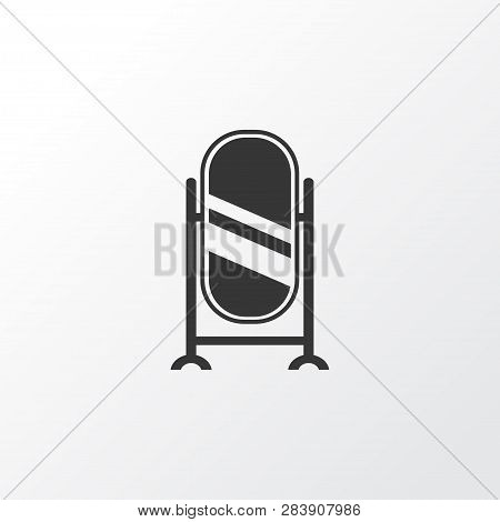 Floor Mirror Icon Symbol. Premium Quality Isolated Stand Vanity Element In Trendy Style.