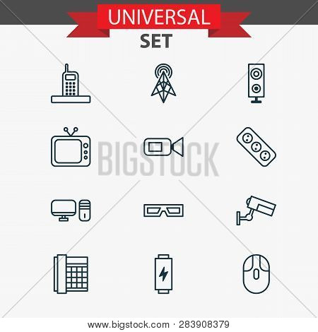 Gadget Icons Set With Tv, Cctv, Video Camera And Other Camcorder Elements. Isolated Vector Illustrat