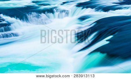 detail shot of the rhine falls in switzerland, long term exposure
