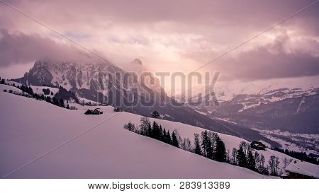 sunset scenery in the swiss alps
