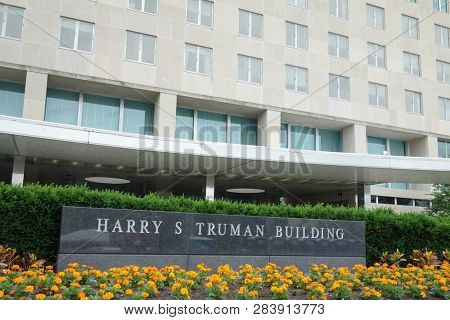 Washington DC / United States - MAY 30 2016: U.S. Department of State, Harry S Truman Building in Washington DC. Building is the headquarters of the United States Department of State.