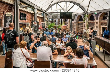 3rd January 2019, Melbourne Victoria Australia : View Of The Food Court Area Full Of People At The Q
