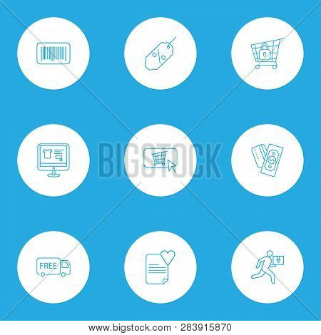 E-commerce Icons Line Style Set With Payments Option, Buy Button, Barcode And Other Buy Online Eleme