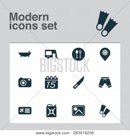 Trip Icons Set With Airplane Ticket, Shorts, Knife And Other Caravan Elements. Isolated  Illustratio
