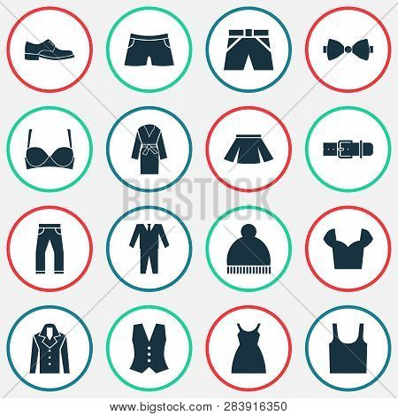Dress Icons Set With Male Footwear, Bow Tie, Suit And Other Dress Elements. Isolated  Illustration D