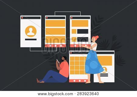 Software Api Prototyping And Testing Background. Prototyping, Development And Engineering Vector Fla