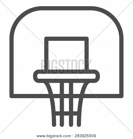 Basketball Hoop Line Icon. Basketball Ring Vector Illustration Isolated On White. Basketball Net Out