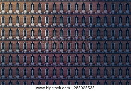 Architectural Pattern, Dark Window Facade With Red Bricks