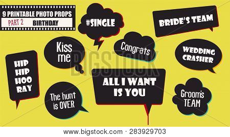 Wedding Or Engagement Party Photo Booth Props Set Of Vector Elements. Illustration With Funny Weddin