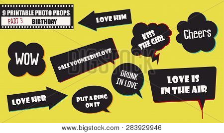 Wedding Or Marriage Party Photo Booth Props Vector Images. Illustration With Funny Wedding Quotes Fo