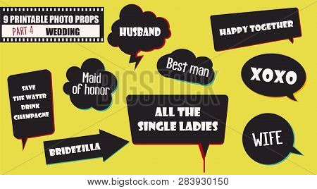Photo Booth Props Vector Elements For Wedding Or Engagement Party. Printable Funny Wedding Quotes Se