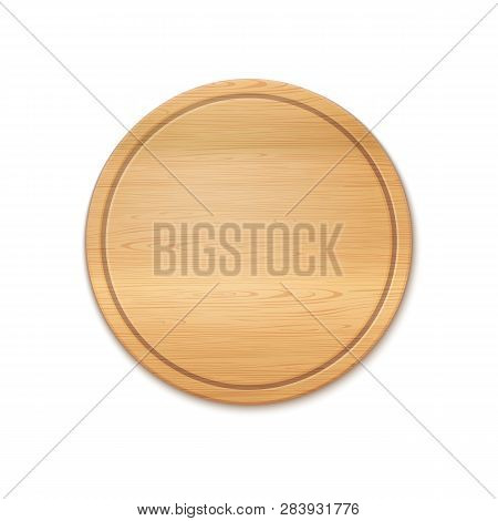 Vector Photo Realistic Round Wooden Cutting Board Isolated On White