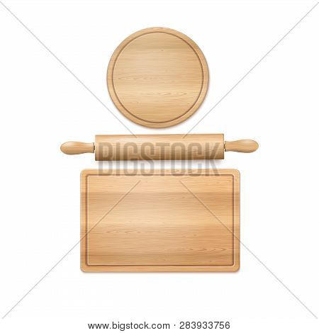 Wooden Cutting Boards And Rolling Pill Isolated On White. Vector Photo Realistic Baking Background.